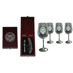 35+ yrs award University Seal Wine Set