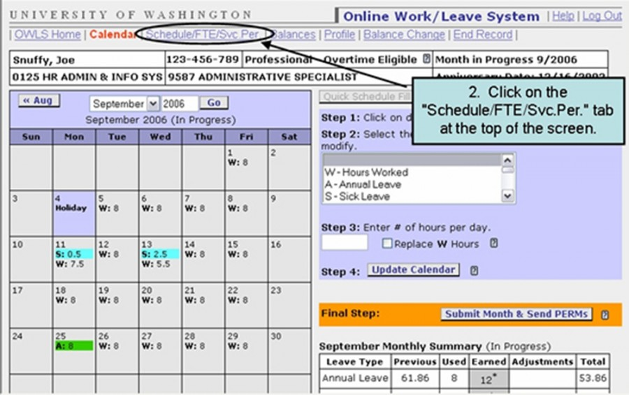 "2. Click on the ""Schedule/FTE/Svc.Per"" tab at the top of the screen"
