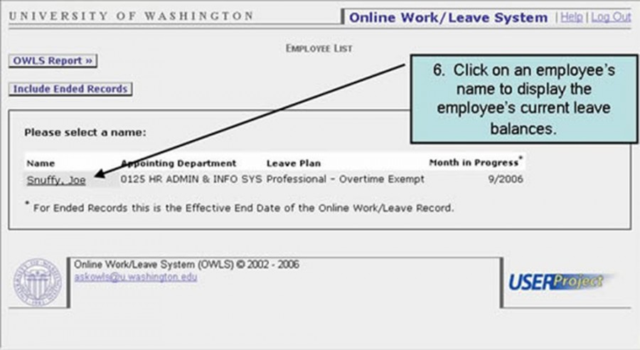6. Click on an employee's name to display the employee's current leave balances.