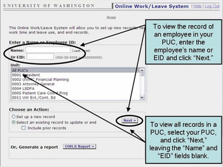 "To view the record of an employee in you PUC, enter the employee;s name or EID and click ""Next"""