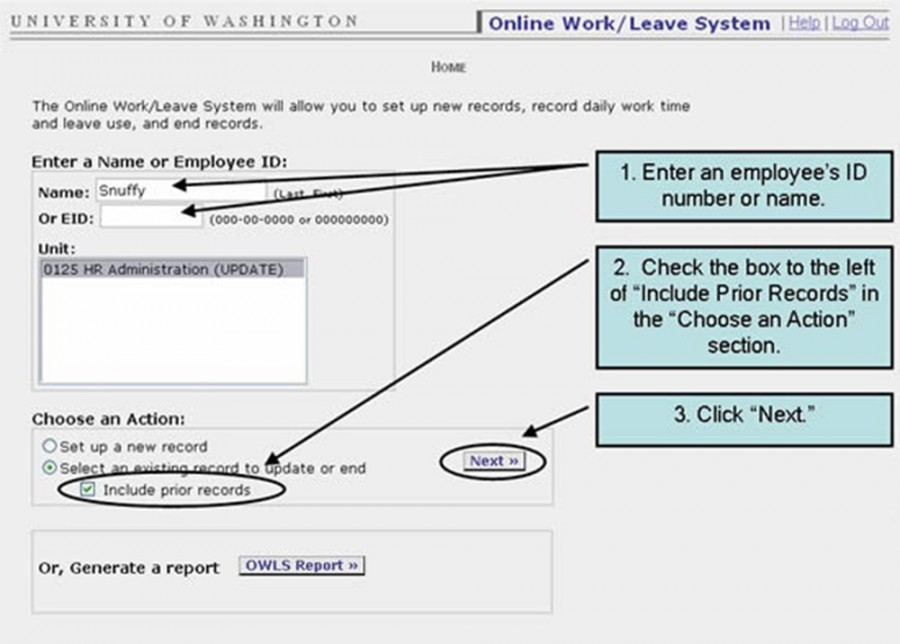 "1. Enter an employee's ID number or name. 2. Click the box to the left of ""Include Prior Records"" in the ""Choose and Action"" section. 3. Click ""Next."""