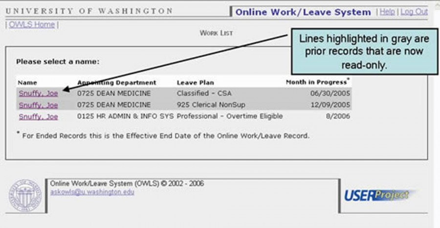 Lines highlighted in gray are prior records that are now read-only.