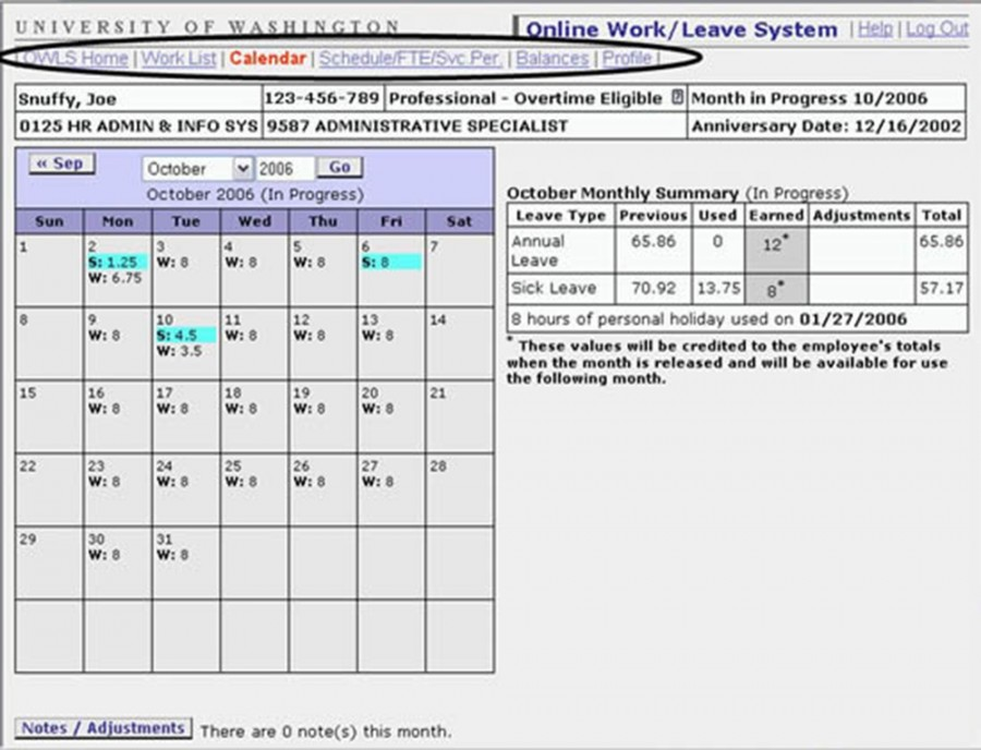 View of employee record with tabs highlighted.