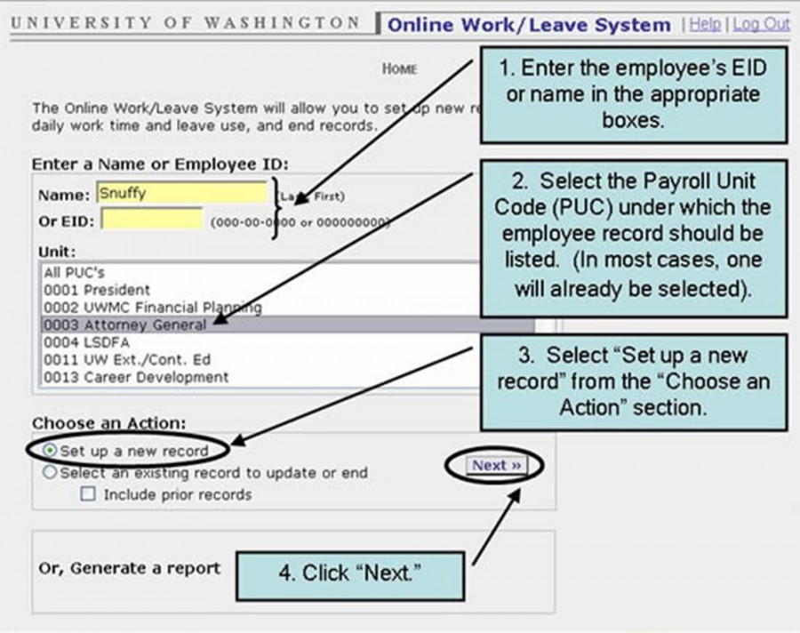 "1. Enter the employee's IED or name in the appropriate boxes. 2. Select the Payroll Unit Code (PUC) under which the employee record should be listed. (In most cases one will already be selected). 3. Select ""Set up new record"" from the ""Choose an Action"" section. 4. Click ""Next."""