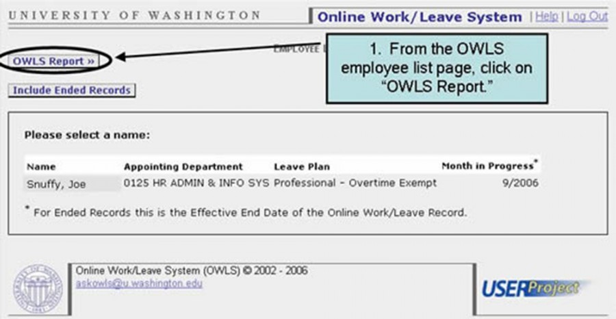 "1. From the OWLS employee list page, click on ""OWLS Report."""