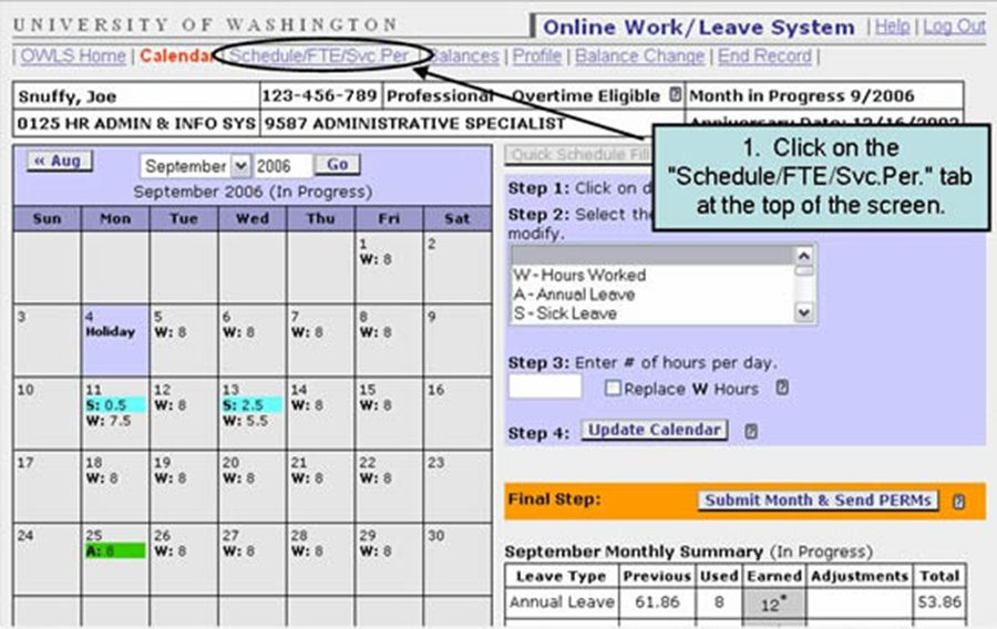 "1. Click on the ""Schedule/FTE/Svc.Per."" tab at the top of the screen."