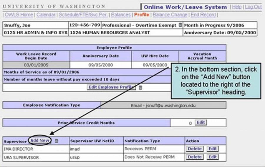 "2. In the bottom section, click on the ""Add New"" button located to the right of the ""Supervisor"" heading."